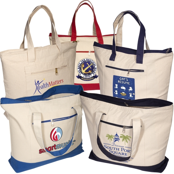 Eco-responsible (tm) - 12 Oz. Cotton Boat Tote Bag With Zippered Main Compartment And Zippered Front Pocket Photo