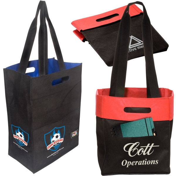 Eco-responsible (tm) Fold 'n Tote - Non Woven 80 Gsm Tote Bag With Front Pocket, An Eco-responsible (tm) Product Photo