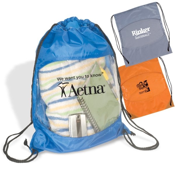 Clear-view Drawstring Bag Made Of 210 Denier Polyester With A Pa Coating Photo