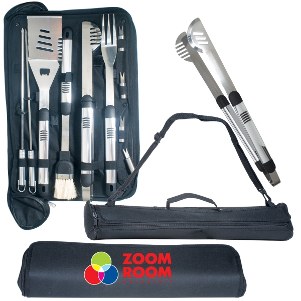 Bbq Master Logotec - Barbecue Master Grill Set Includes Spatula, Fork, Brush, Tongs, Skewers, And More Photo