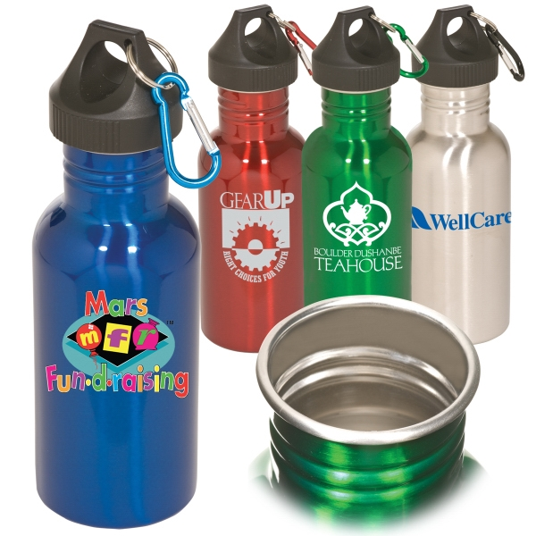 Stainless Steel 17 Ounce Bpa-free Water Bottle With Carabiner Clip Photo
