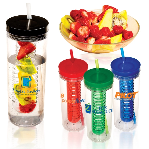 Thirstinator Sipper - 20 Oz. Single-wall San Acrylic Tumbler With Infuser And Polypropylene Straw Photo