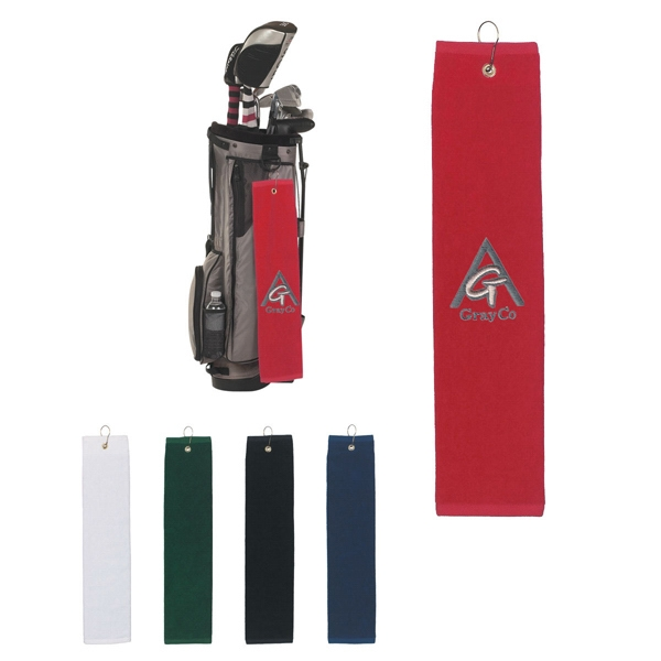 100% Cotton Tri-fold Golf Towel With Metal Grommet And A Hook Photo