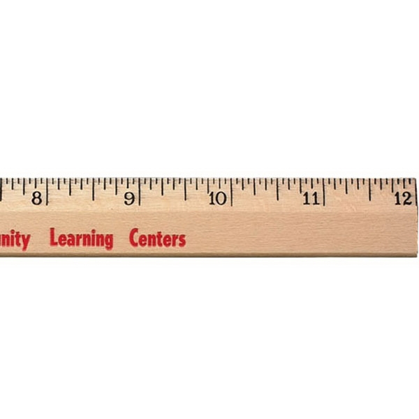 "12"" Clear Lacquer Beveled Wood Ruler Photo"