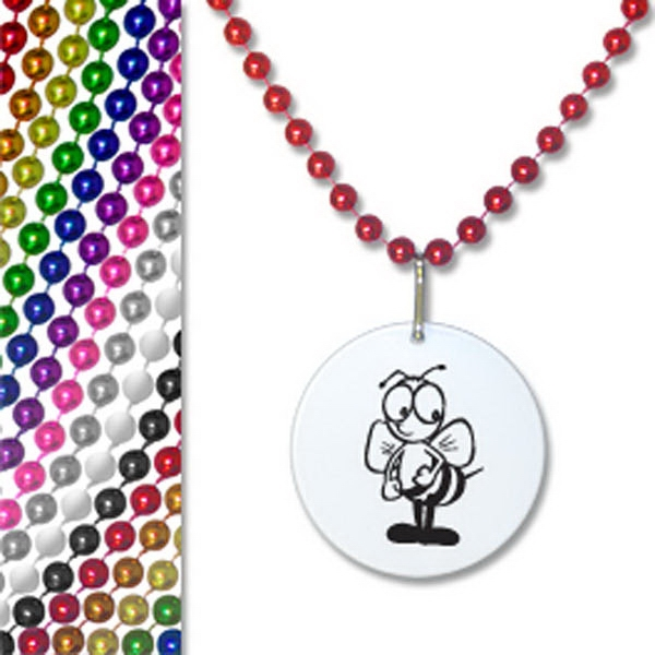 "33"" Customizable Bead Necklace With White Pendant Photo"