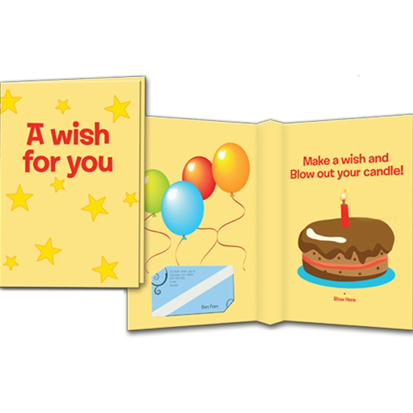 Interactive Card With Blow Sensor Activated Candle And Sound Photo