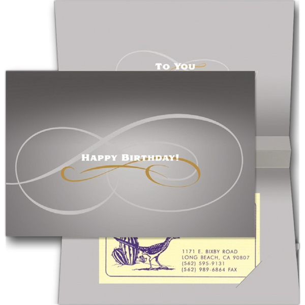 "Outside: Happy Birthday (inside Text ""to You"") - Stock Sound Card With Slots For Business Card Photo"