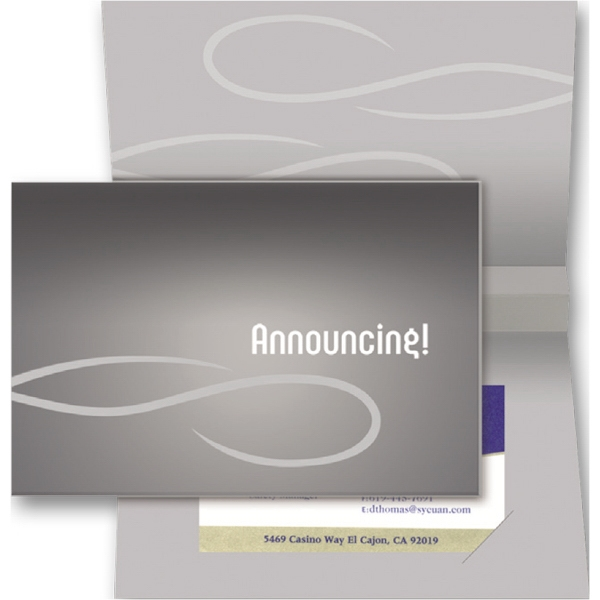 Outside: Announcing (inside Blank) - Stock Sound Card With Slots For Business Card Photo
