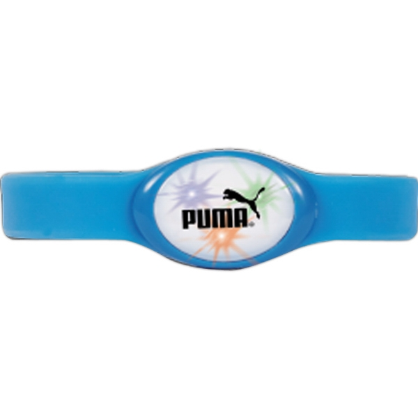Blue - Flashing Flex Lighted Bracelet. One Size Fits All Photo