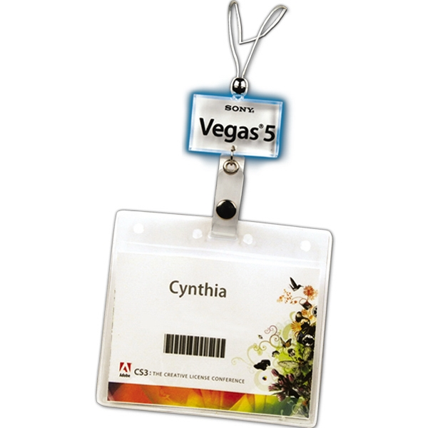 Green Led - Lighted Charm Badge Holder Photo