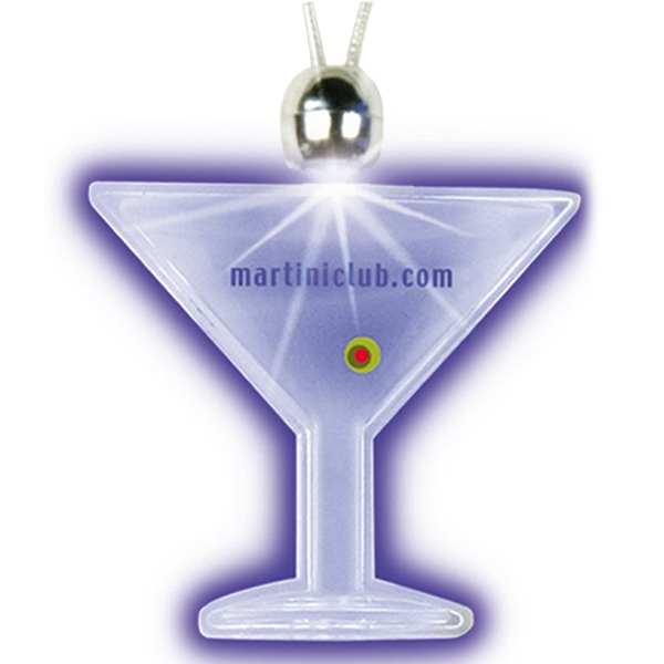 Green - Martini Glass - Lighted Charm Necklace With Breakaway Clasp Photo