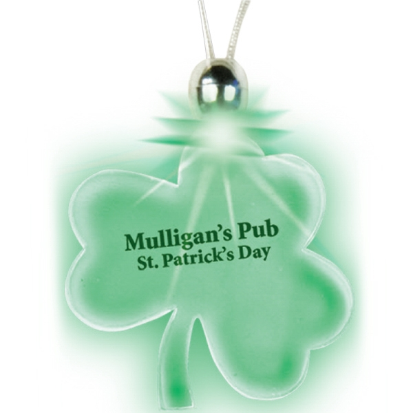 Lucky Charm - Green - Shamrock - Lighted Charm Necklace With Breakaway Clasp Photo
