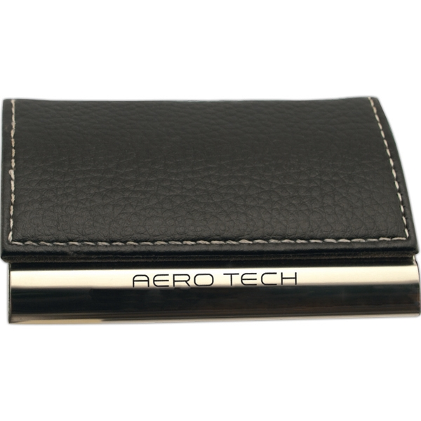 Black Pebble Leatherette & Chrome (curved Top) Business Card Case Photo