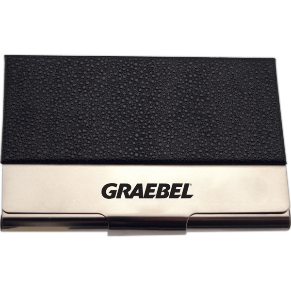 Black Pebble Leatherette & Chrome (flat Top) Business Card Case Photo