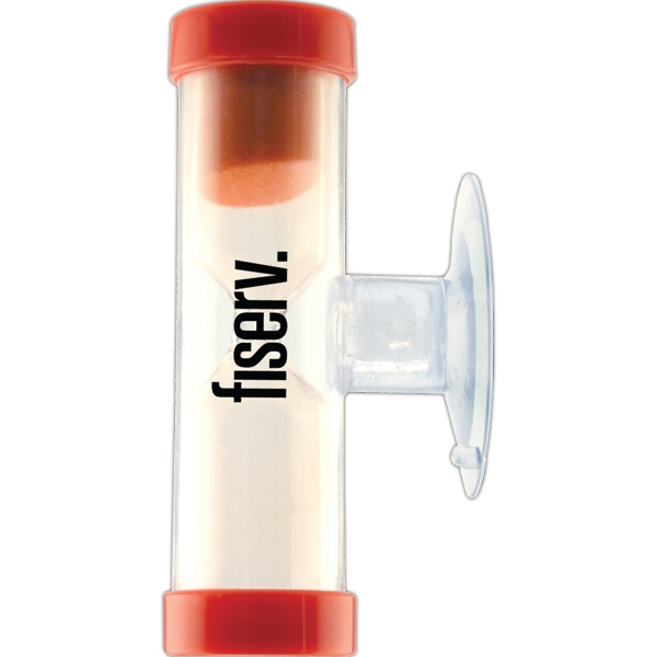 2 Minute Red Timer - Waterproof Sand Timer With Suction Cup Photo