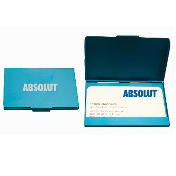 Brushed Aluminum-blue - Brushed Aluminum Flat Business Card Case Photo