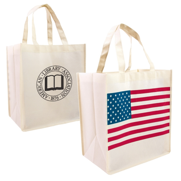 Atlas - Eco Friendly Reusable Grocery Tote Featuring American Flag Stock Art Photo