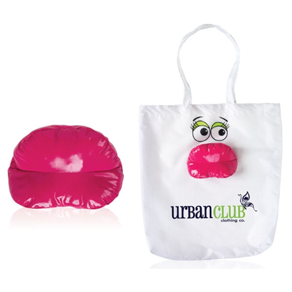 Lipz - Full Sized Tote Bag In White And Folds Into A Shiny Fuchsia Lips Photo