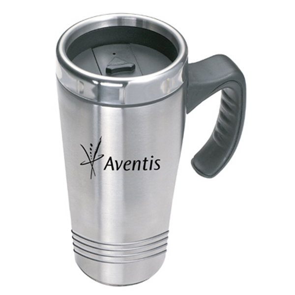 The Perfect Fit - Double Walled Classic Stainless Steel Mug With Stainless Steel Lid, 14oz Photo
