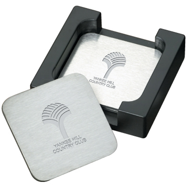 The Throw - Stainless Steel Coaster Set. Stylish Black Caddy Photo