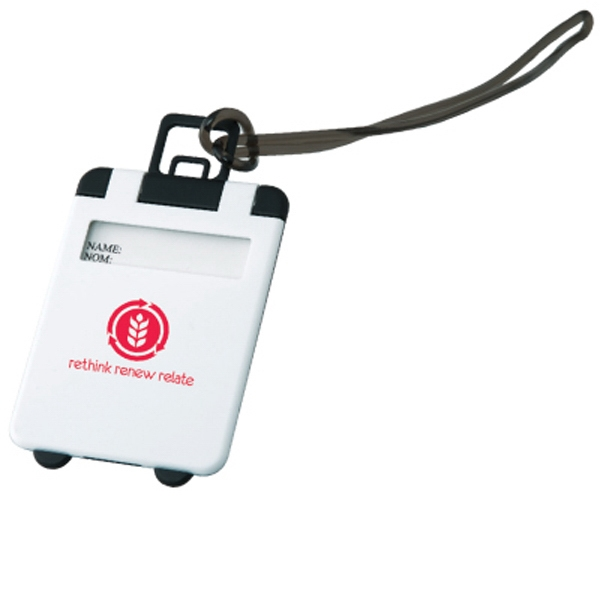 The Smart - White - Luggage Tag With Snap-open Cover And Silicone String Loop For Easy Attachment Photo