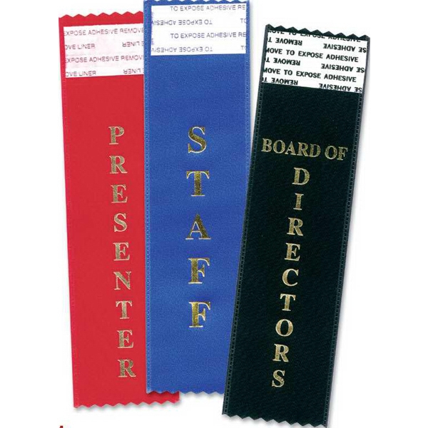 Cream Host Tail-Type Award Ribbon - Cream Host tail-type award ribbon with gold foil - stock imprint. Blank.
