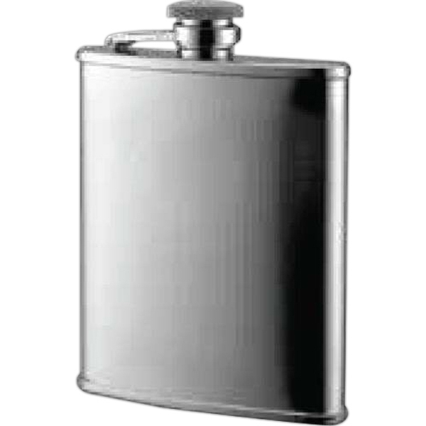 6 oz. Checkered Pattern with Oval Stainless Steel Flask