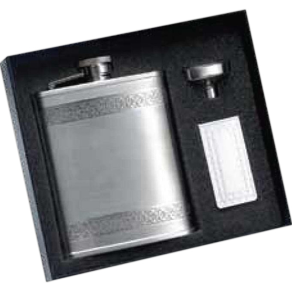 6 oz. Goth Border Flask with Money Clip and Funnel Gift Set