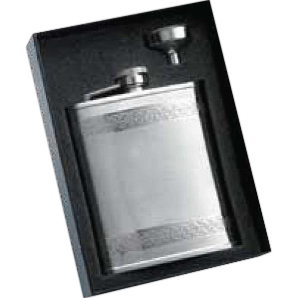 6 oz. Shiny Goth Border Flask and Funnel Gift Set