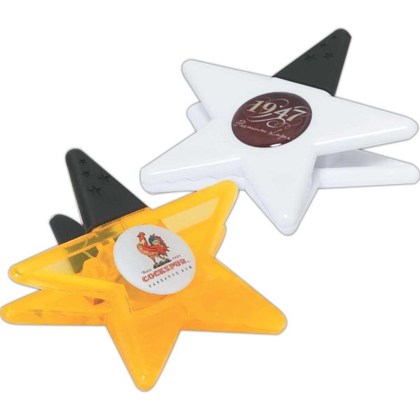 White - Jumbo Star Memo Clip With A Spring Loaded Hinge And Comfortable Rubber Grip Photo