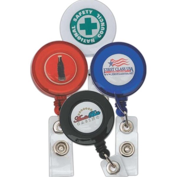 Retractable Badge Holder With Dome - Retractable Badge Holder, 5 Day Service Photo
