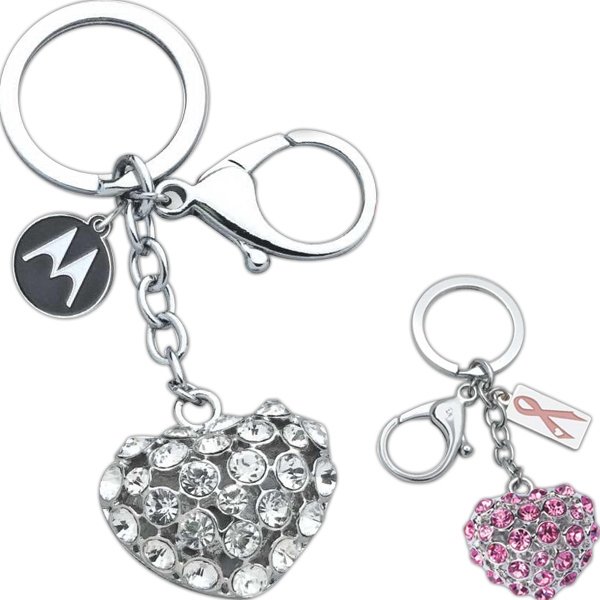 "Full Color Process - 3-d Heart ""bling"" Key Tag Photo"