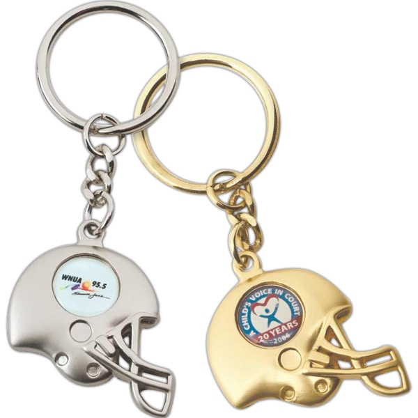 Football Helmet Key Tag With Split Ring And 3 Link Chain Photo
