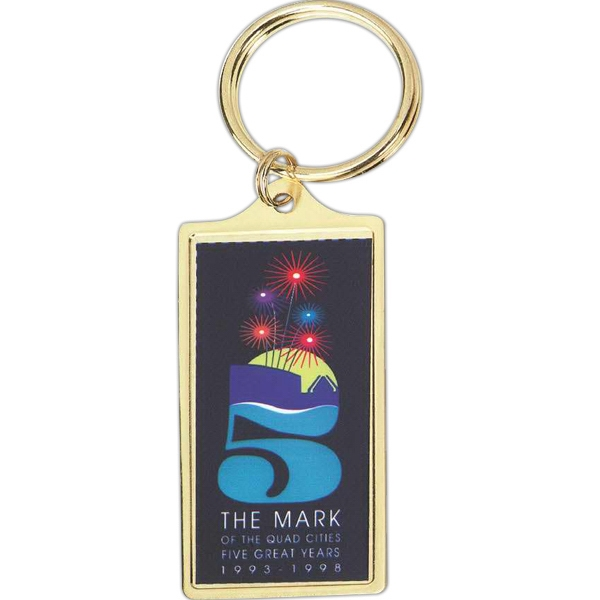 "Large Rectangle Shape Key Tag With A 1 1/8"" X 2 3/8"" Insert And Epoxy Dome Photo"