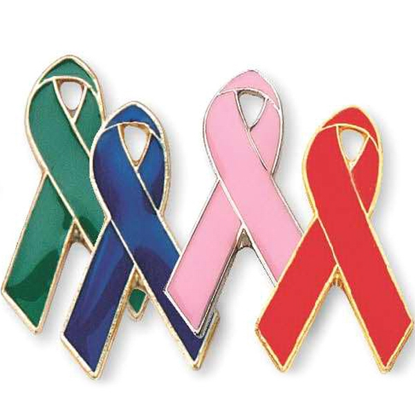 Die Struck Enamel Pink Ribbon Breast Cancer Pin Photo