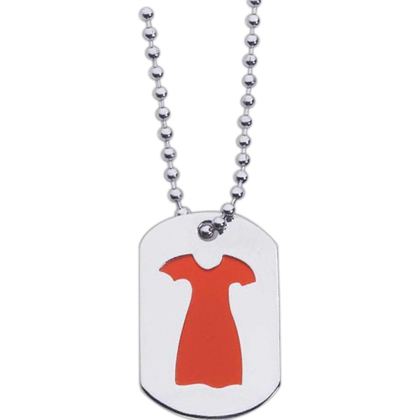"Etched Enamel Red Dress Stainless Steel Mini Dog Tag With 24"" Ball Chain Photo"