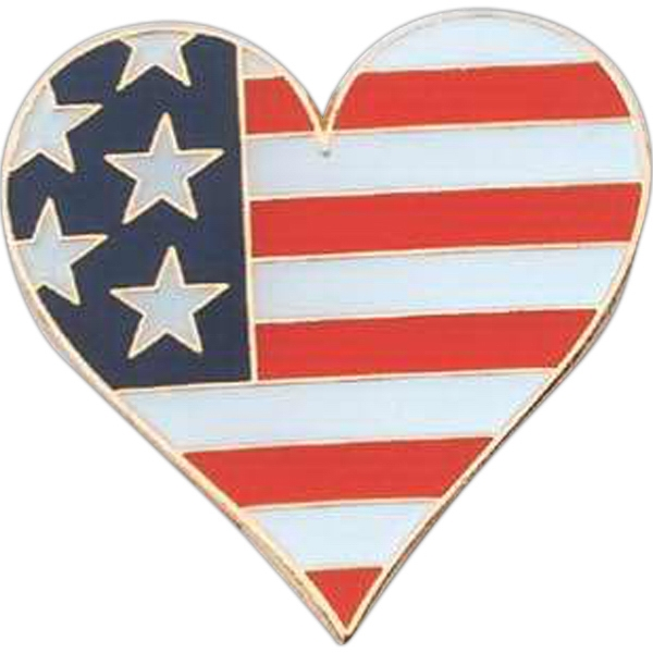 Heart Shape Pin With Flag Design Photo