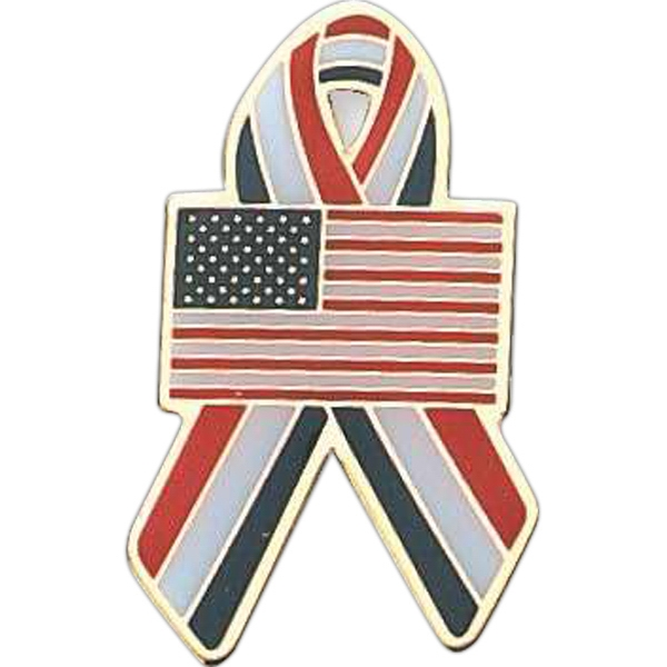 Red, White And Blue Awareness Ribbon Shape Pin With U.s. Flag In Center Photo