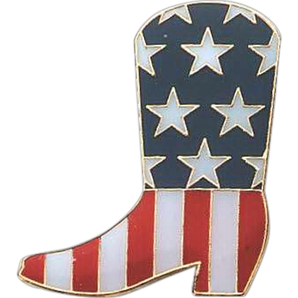 Boot Shape Pin With Us Flag Design Photo