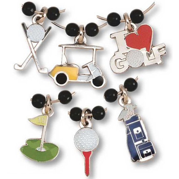 Golf Related Charms - Set Of 6 Stock Die Struck Enamel Wine Charm Set Photo