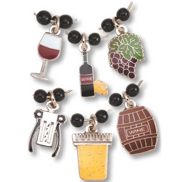 Patriotic Related Charms - Set Of 6 Stock Die Struck Enamel Wine Charm Set Photo