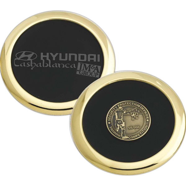 "Polished Brass Coaster With 1 1/2"" Round With Die Struck Medallion Photo"