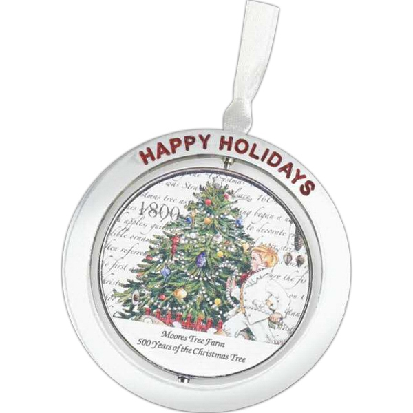 "2 1/4"" Diameter Spinning Ornament With Red Enamel Happy Holidays Accent Photo"