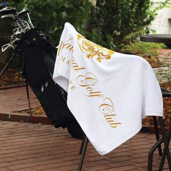 "Caddy Towel - 3 Working Days - Embroidery - White Terry Velour Cotton Caddy Towel, 24"" X 42"" Photo"