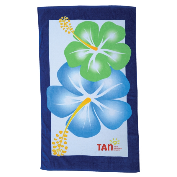 Hibiscus Collection - 7 Working Days - Stock Large Flowers Hibiscus Design Fiber Reactive Beach Towel Photo