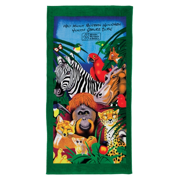 3 Working Days - Stock Zoo Design Fiber Reactive Beach Towel Photo