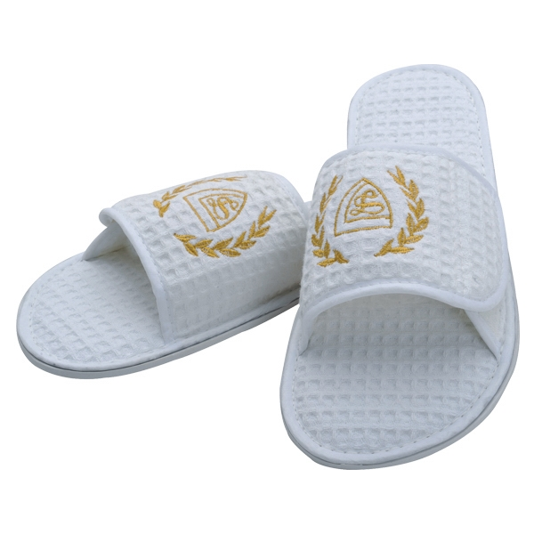 3 Working Days - Waffle Weave Spa Slipper With Velcro Closure, White Photo
