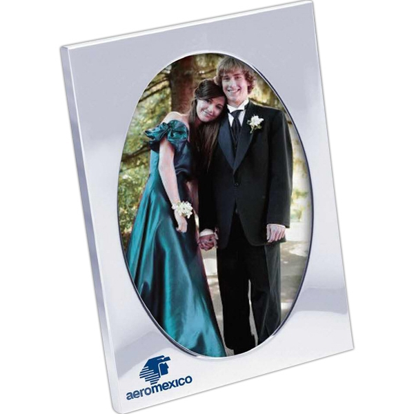 "3 1/2-inch x 5-inch Photo Frame - 3 1/2"" x 5"" oval shape picture frame with silver chrome metal finish frame."