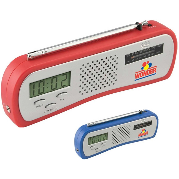 AM/FM Alarm Clock Radio - AM/FM radio includes a built in alarm clock and countdown timer.