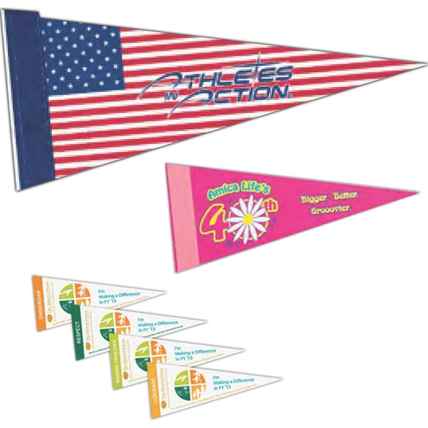 "White Felt Pennant With Screened Strip, 4"" X 10"" Photo"